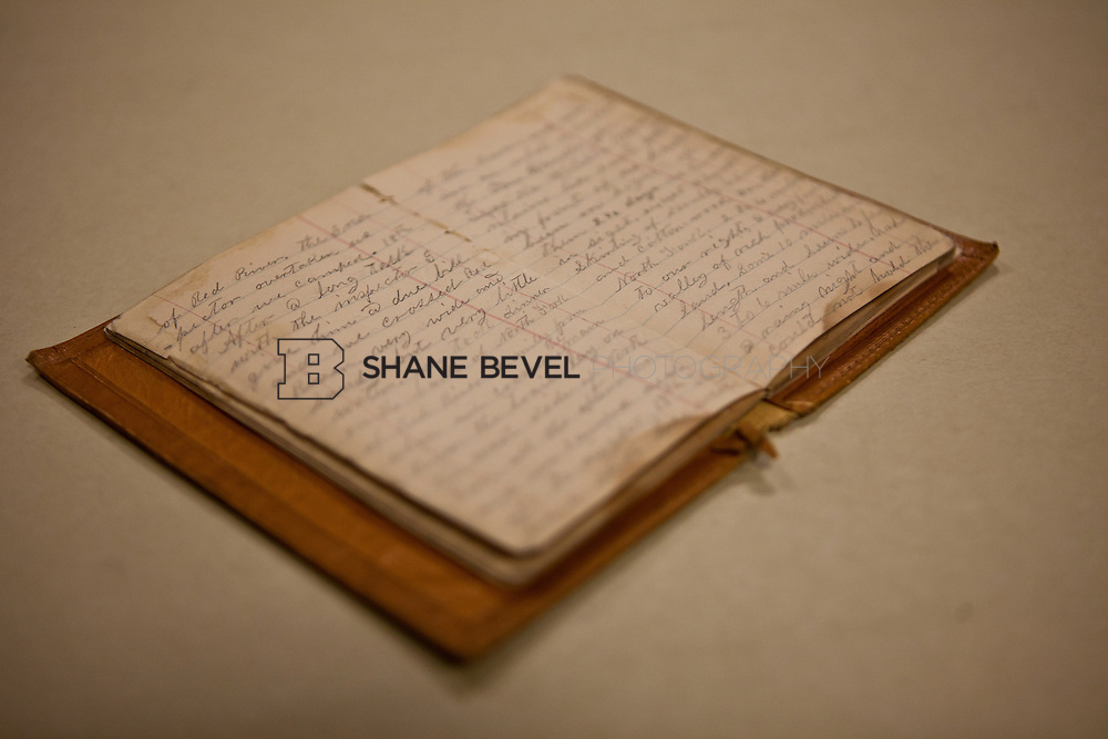 12/9/11 3:30:33 PM -- The handwritten journal of a cowboy who rode the Great Western Cattle Trail in the late 1900s.  Courtesy of the Museum of the Western Prairie. ..Photo by Shane Bevel