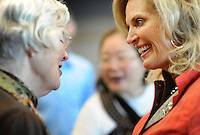 "SPARTANBURG, SC:  After the ""stump speech"" to a small gathering of supporters some rushed up to speak one on one with Ann Romney, former first lady of Massachusetts and devoted wife of republican candidate for president, Mitt Romney, at the Westside Library in Spartanburg, South Carolina, Thursday, September 29, 2011. (Photo by Melina Mara/The Washington Post) . ..."