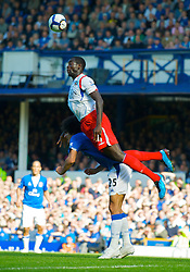 LIVERPOOL, ENGLAND - Sunday, September 20, 2009: Everton's Marouane Fellaini and Blackburn Rovers' Christopher Samba during the Premiership match at Goodison Park. (Pic by David Rawcliffe/Propaganda)