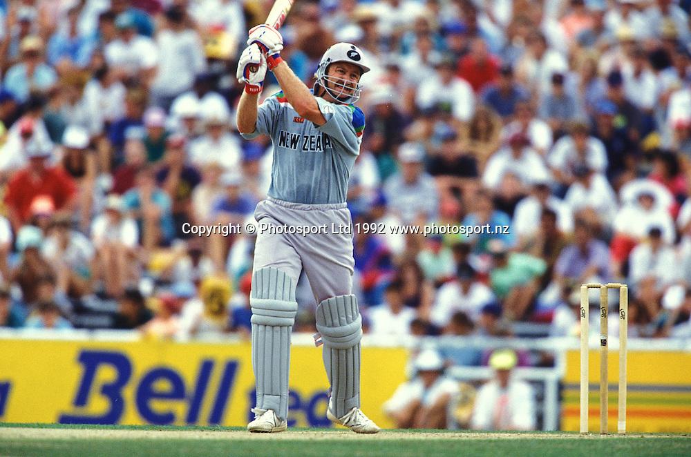 Mark Greatbatch in action. One day international cricket, 1992 World Cup. New Zealand Black Caps v Australia. Eden Park, Auckland, 22 February 1992. Photo: PHOTOSPORT