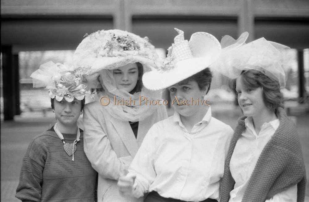 Easter Bonnet Competition.  (R54)..1987..16.04.1987..04.16.1987..As part of an Easter Promotion The Kilkenny Design Shop in Nassau Street, Dublin sponsored an Easter bonnet design competition. There follows a series of images showing some of the fabulous designs put forward. Unfortunately we do not have the caption card naming the individuals who took part, if you know any of them why not let us know at irishphotoarchive.ie and we will gladly add to the caption.