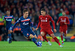 LIVERPOOL, ENGLAND - Wednesday, October 24, 2018: Liverpool's Roberto Firmino during the UEFA Champions League Group C match between Liverpool FC and FK Crvena zvezda (Red Star Belgrade) at Anfield. (Pic by David Rawcliffe/Propaganda)
