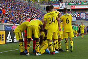 Columbus Crew players celebrate following a goal against FC Cincinnati during a MLS soccer game, Sunday, Aug 25th, 2019, in Cincinnati, OH. (Jason Whitman/Image of Sport)