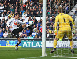 Thomas Ince of Derby County (L) scores his sides second goal- Mandatory by-line: Jack Phillips/JMP - 09/04/2016 - FOOTBALL - iPro Stadium - Derby, England - Derby County v Bolton Wanderers - Sky Bet Championship