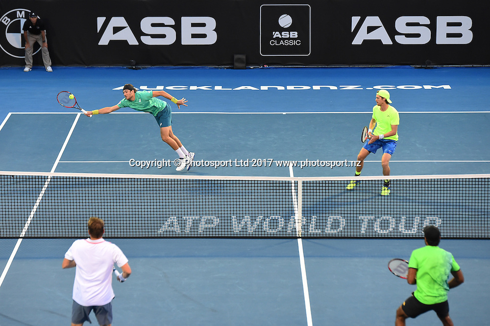 Marcus Daniell and Marcelo Demolinder during the ASB Classic ATP Mens Tournament Day 5 Semi Finals. ASB Tennis Centre, Auckland, New Zealand. Friday 13 January 2017. ©Copyright Photo: Chris Symes / www.photosport.nz