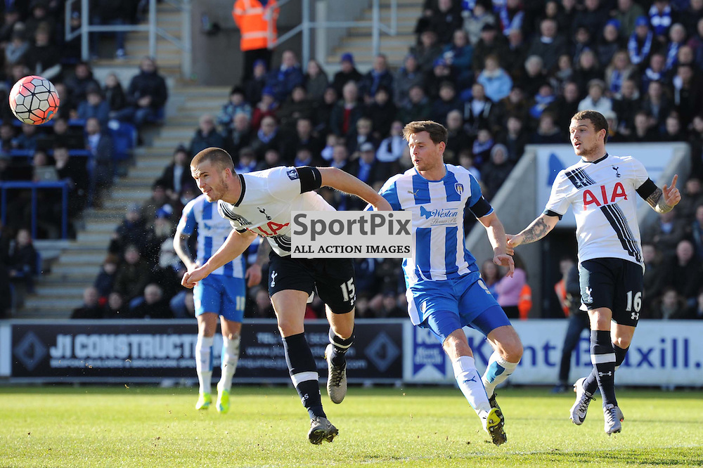 Tottenhams Eric Dier clears the ball during the Colchester v Tottenham game in the FA Cup 4th Round on the 30th January 2016.
