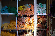 Multicolored cotton in storage at Womens Skills Development Project in Pokhara, Nepal. The WSDP was set up in 1975 as a non-profit, fair trade organization to help disadvantaged women in Nepal.