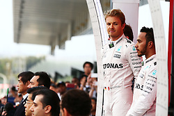 GP von Japan 2016 in Suzuka / 091016<br /> <br /> ***Formula One Grand Prix of Japan on October 9, 2016 in Suzuka.***<br /> <br /> GP von Japan 2016 in Suzuka / 091016<br /> <br /> ***Formula One Grand Prix of Japan on October 9, 2016 in Suzuka.***<br /> <br /> Race winner Nico Rosberg (GER) Mercedes AMG F1 with team mate Lewis Hamilton (GBR) Mercedes AMG F1 on the podium.<br /> 09.10.2016. Formula 1 World Championship, Rd 17, Japanese Grand Prix, Suzuka, Japan, Race Day.<br />  - www.xpbimages.com, EMail: requests@xpbimages.com - copy of publication required for printed pictures. Every used picture is fee-liable. © Copyright: Bearne / XPB Images