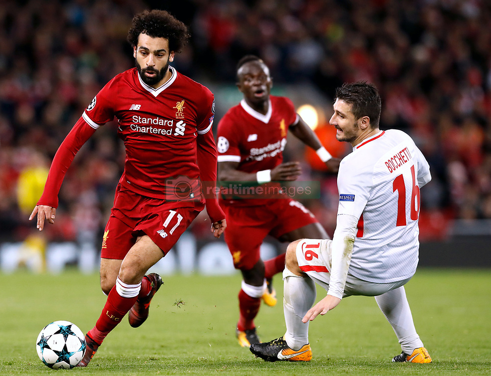 Liverpool's Mohamed Salah (left) and Spartak Moscow's Salvartore Bocchetti battle for the ball