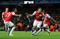 23.11.2011, Emirates Stadion, London, ENG, UEFA CL, Gruppe F, FC Arsenal (ENG) vs Borussia Dortmund (GER), im Bild Arsenal's Robin Van Persie celebrates scoring the opening goal during the football match of UEFA Champions league, group F, between FC Arsenal (ENG) and Borussia Dortmund (POR) at Emirates Stadium, London, United Kingdom on 2011/11/23. EXPA Pictures © 2011, PhotoCredit: EXPA/ Sportida/ Chris Brunskill..***** ATTENTION - OUT OF ENG, GBR, UK *****