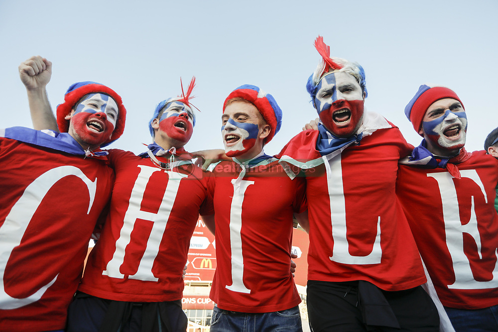 June 28, 2017 - Kazan, Russia - Chile national team supporters during FIFA Confederations Cup Russia 2017 semi-final match between Portugal and Chile at Kazan Arena in June 28, 2017 in Kazan, Russia. (Credit Image: © Mike Kireev/NurPhoto via ZUMA Press)