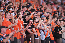 October 13, 2017 - Brisbane, QUEENSLAND, AUSTRALIA - Brisbane Roar fans show their support during the round two A-League match between the Brisbane Roar and Adelaide United at Suncorp Stadium on October 13, 2017 in Brisbane, Australia. (Credit Image: © Albert Perez via ZUMA Wire)
