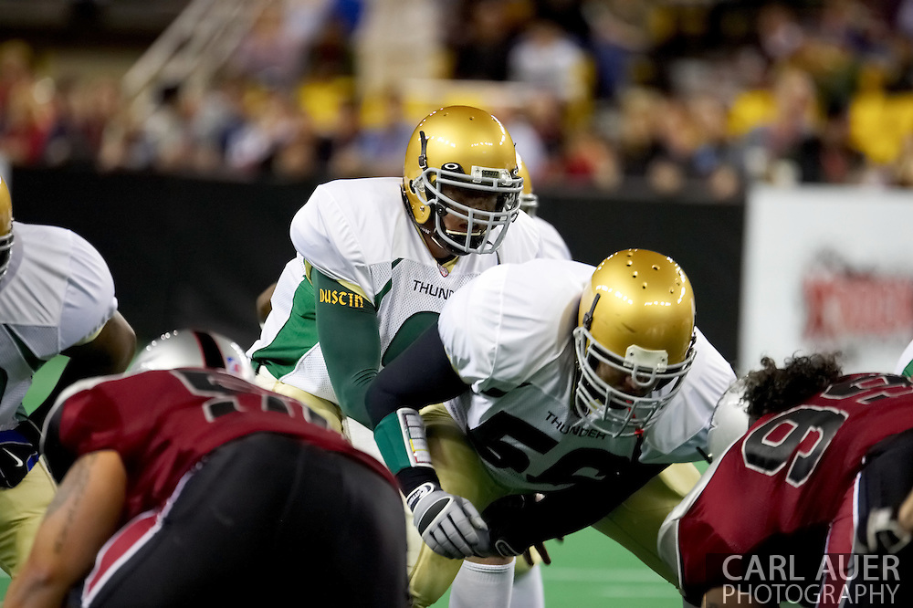 4/12/2007 - Dustin Almond takes the snap for the Frisco Thunder in the 46-33 win over the Alaska Wild in the first professional football game in Alaska.