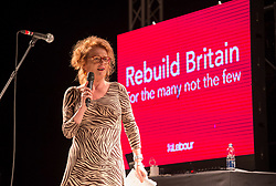 © Licensed to London News Pictures. 24/10/2019. Bristol, UK. JOANNE KAYE, Regional Secretary of Unison South West,  speaks at a Labour Party rally at The Marble Factory at Motion nightclub in Bristol, on the day the prime minister proposed a general election this December. Labour leader Jeremy Corbyn was due to speak at the event but it was announced onstage that he was not coming as he was dealing with the election proposal in London. Labour are promising the biggest people-powered campaign the country has ever seen. Photo credit: Simon Chapman/LNP.