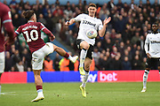Derby County midfielder George Evans (17) on defensive duties during the EFL Sky Bet Championship match between Aston Villa and Derby County at Villa Park, Birmingham, England on 2 March 2019.