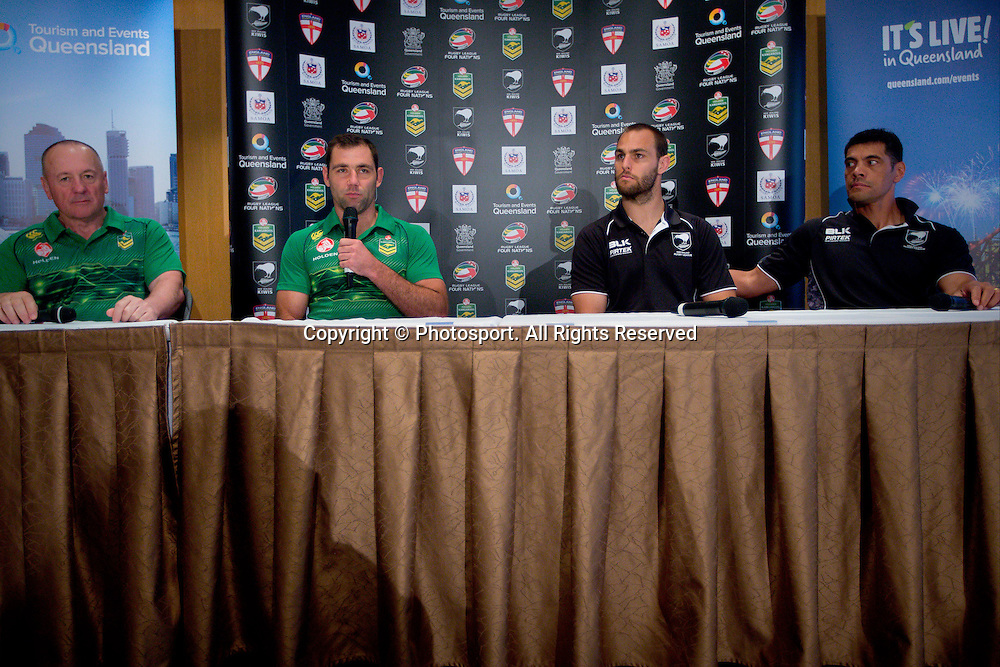 L_R Australian coach Tim Sheens, Australian captain Cameron Smith (c), New Zealand captain Simon Mannering and New Zealand coach Stephen Kearney during a preview 4 Nations press conference, Brisbane Australia on October 24, 2014.
