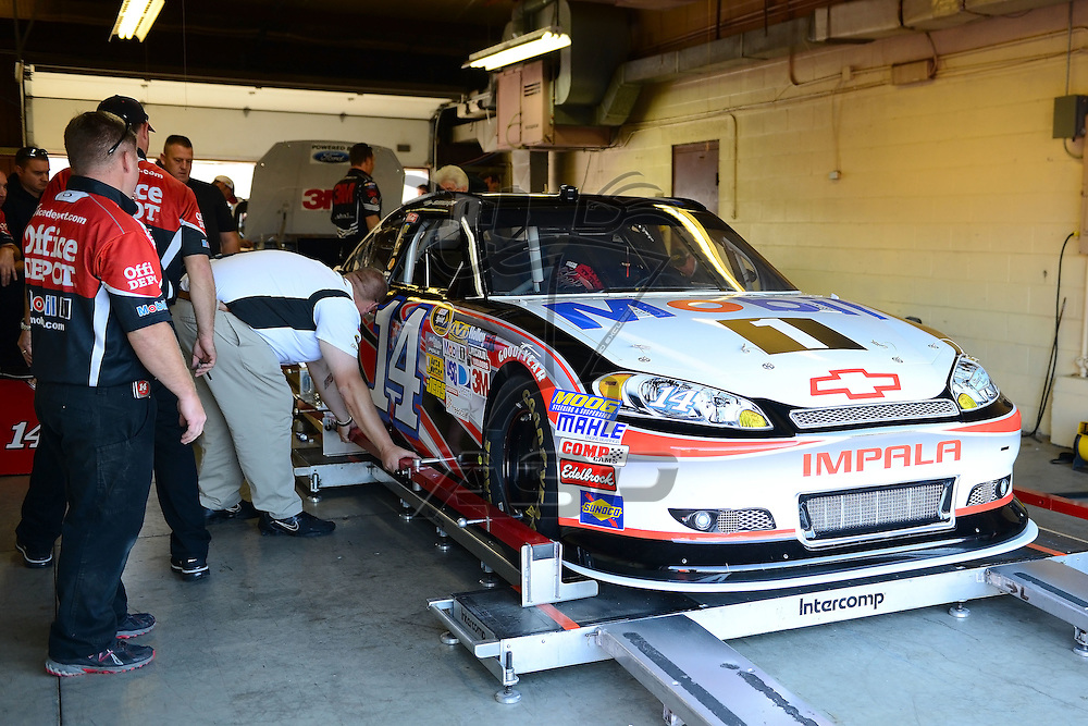 Brooklyn, MI  - Aug 17, 2012: The Office Depot Chevy driven by Tony Stewart goes threw a tech inspection before practice for the Pure Michigan 400 at Michigan International Speedway in Brooklyn, MI.