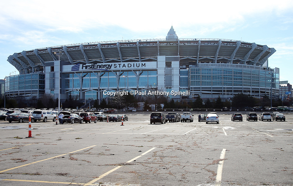 FirstEnergy Stadium stands tall in this wide angle, general view photograph taken from the parking lot before the Cleveland Browns 2015 week 8 regular season NFL football game against the Arizona Cardinals on Sunday, Nov. 1, 2015 in Cleveland. The Cardinals won the game 34-20. (©Paul Anthony Spinelli)
