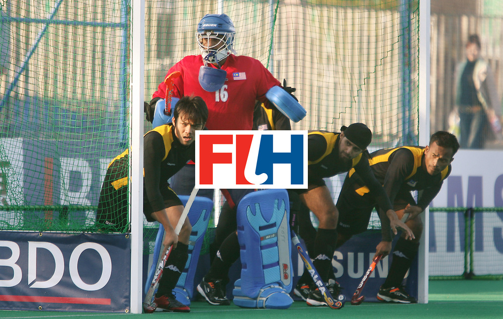 Kakamigahara (Japan): Malaysians defending a penalty corner against Germany in the Olympic Hockey Qualifierat Gifu Perfectural Green Stadium at Kakamigahara on 08 April 2008. Germany beat Malaysia 3-0.   Photo: GNN/ Vino John