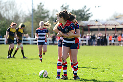 Cat McNaney of Bristol Ladies celebrates with team mates after scoring - Mandatory by-line: Dougie Allward/JMP - 26/03/2017 - RUGBY - Cleve RFC - Bristol, England - Bristol Ladies v Wasps Ladies - RFU Women's Premiership