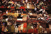 Libertad Market in Guadalajara, Mexico. Vegetable vendors seen from above.