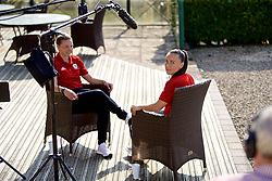CARDIFF, WALES - Monday, April 1, 2019: Wales' Hayley Ladd (L) and Natasha Harding (R) during a media session at the Vale Resort ahead of a friendly against the Czech Republic. (Pic by David Rawcliffe/Propaganda)