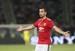 August 8, 2017 - Skopje, Macedonia - Henrikh Mkhitaryan of Manchester United in action during the UEFA Super Cup match between Real Madrid and Manchester United at Philip II Arena on August 8, 2017 in Skopje, Macedonia. (Credit Image: © Raddad Jebarah/NurPhoto via ZUMA Press)