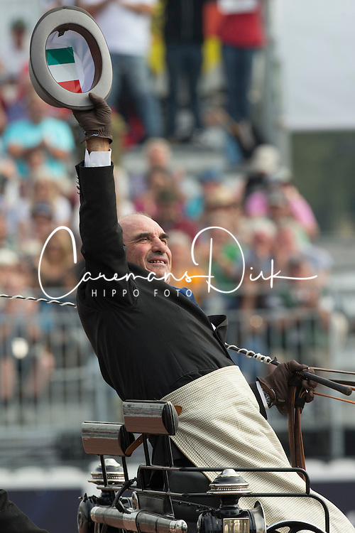 Carlo Mascheroni, (ITA), Annibal, Billy, Bjorn, Freedom, Okay - Driving dressage day 2 - Alltech FEI World Equestrian Games&trade; 2014 - Normandy, France.<br /> &copy; Hippo Foto Team - Dirk Caremans<br /> 05/09/14
