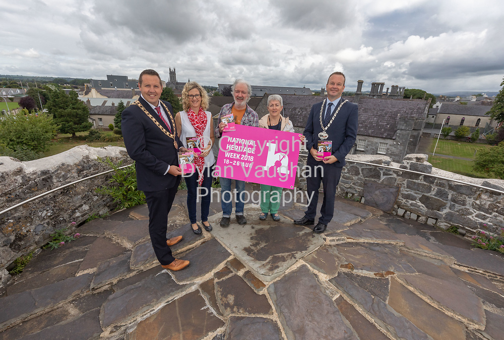 Repro Free No Charge for Repro<br /> <br /> <br /> 13th century Talbots Tower provides the stunning backdrop for the launch of Kilkenny&rsquo;s Heritage Week Programme (18th- 26th August).  <br /> <br /> Celebrating the event are from left Cllr. Peter Chap Cleere, Mayor Municipal District Kilkenny City; Dearbhala Ledwidge, Heritage Officer; Cllr Malcolm Noonan, Chair Kilkenny Heritage Forum; Bernadette Roberts, Clerical Officer Heritage Office and Cllr Eamon Aylward, Cathaoirleach, Kilkenny County Council.<br /> <br /> For details of all events taking place around the city and county see www.heritageweek.ie<br /> <br /> Picture Dylan Vaughan.