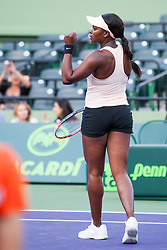 March 22, 2018 - Key Biscayne, FL, U.S. - KEY BISCAYNE, FL - MARCH 22: Sloane Stephens (USA) in action on Day 4 of the Miami Open on March 22, 2018, at Crandon Park Tennis Center in Key Biscayne, FL. (Photo by Aaron Gilbert/Icon Sportswire) (Credit Image: © Aaron Gilbert/Icon SMI via ZUMA Press)