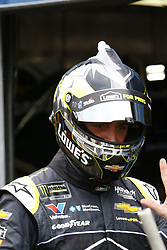 August 10, 2018 - Brooklyn, Michigan, United States of America - Jimmie Johnson (48) hangs out in the garage during practice for the Consumers Energy 400 at Michigan International Speedway in Brooklyn, Michigan. (Credit Image: © Justin R. Noe Asp Inc/ASP via ZUMA Wire)