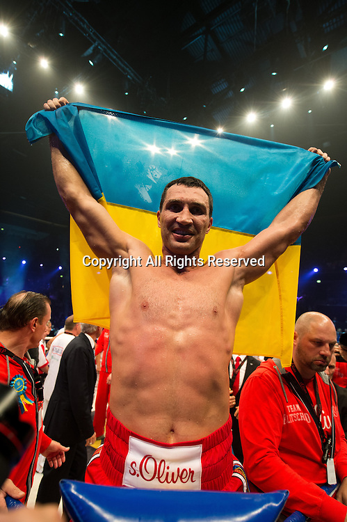 26.04.2014. Oberhausen Germany.  Ukrainian heavyweight champion Wladimir Klitschko celebrates after winning the heavyweight world title boxing fight against Australian boxer Alex Leapai at the Koenig-Pilsener-Arena in Oberhausen, Germany. Klitschko knocked out Alex Leapai in the fifth round.