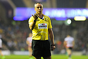 Referee John Lacey calls for TMO opinion during the European Rugby Challenge Cup match between Gloucester Rugby and Stade Francais at BT Murrayfield, Edinburgh, Scotland on 12 May 2017. Photo by Kevin Murray.