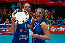 Carlijn Ghijssen-Jans #10 of Sliedrecht Sport, Jolijn de Haan #4 of Sliedrecht Sport celebrate after the cup final between Sliedrecht Sport and Laudame Financials VCN on February 16, 2020 in De Maaspoort in Den Bosch.