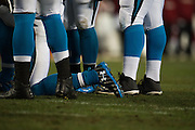 January 24, 2016: Carolina Panthers vs Arizona Cardinals. Cam Newton's Under Armor cleats
