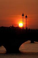 sunset on the Napoleon Bridge and the Seine-photograph by Owen Franken - Photograph by Owen Franken
