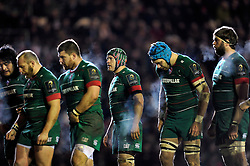 A general view of Leicester Tigers forwards approaching a lineout - Photo mandatory by-line: Patrick Khachfe/JMP - Mobile: 07966 386802 16/01/2015 - SPORT - RUGBY UNION - Leicester - Welford Road - Leicester Tigers v Scarlets - European Rugby Champions Cup