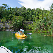 Kayak tour of the mangroves and waterways around  Mayakoba. Riviera Maya. Quintana Roo, Mexico.