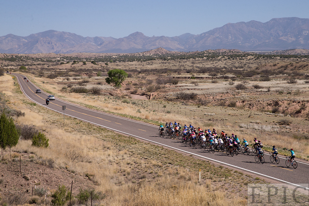 SILVERY CITY, NM - APRIL 18: The womens peloton heads toward the Mogollon climb during  stage 1 of the Tour of The Gila on April 18, 2018 in Silver City, New Mexico. (Photo by Jonathan Devich/Epicimages.us)