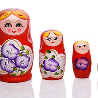 Traditional russian dolls, on white background