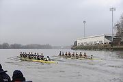 Putney, GREAT BRITAIN,  left, crew Personality and crew Looks  race along the Fulham Wall, as both crews approach Craven Cottege, Fulham Football clubs ground, during the 2008 Varsity/Cambridge University Trial Eights, raced over the championship course. Putney to Mortlake, Tue. 16.12.2008. [Mandatory Credit, Peter Spurrier/Intersport-images..Crew Personality. Bow Dan SHAUGHNESSY, 2. Shane O'MARA, 3. John CLAY, 4. Ryan MONAGHAN, 5. Fred GILL, 6. Deaglan McEACHERN, 7. Hardy CUTBASCH, stroke,. Rob WEITEMAYER and cox Rebecca DOWBIGGIN...Crew Looks; Bow James STRAWSON. 2. Joel JENNINGS, 3. Code STERNAL, 4 Peter MARSLAND, 5. George NASH, 6. Henry PELLY, 7. Tom RANSLEY, stroke Silas STAFFORD and Cox Helen HODGES. Varsity Boat Race, Rowing Course: River Thames, Championship course, Putney to Mortlake 4.25 Miles,
