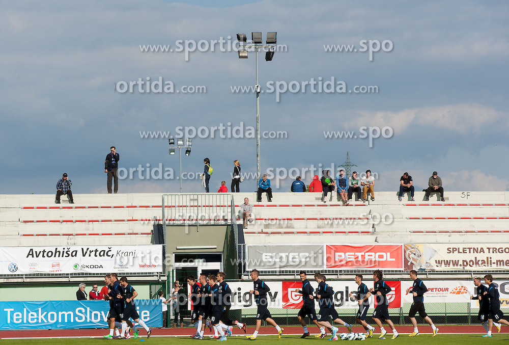 Spectators during practice session of Slovenian National football team at training camp on May 28, 2013 in Sports park Kranj, Slovenia. (Photo By Vid Ponikvar / Sportida)