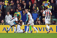 Jose Salomon Rondon of West Bromwich Albion celebrates scoring his sides 1st goal during the Barclays Premier League match at Carrow Road, Norwich<br /> Picture by Paul Chesterton/Focus Images Ltd +44 7904 640267<br /> 24/10/2015