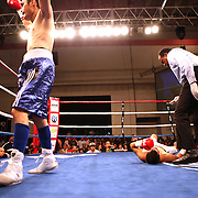 """Former WBO World champion Alex """"El Nene"""" Sanchez (White Trunks) of Ponce, Puerto Rico lays on the ground during the count after being knocked down in round 2  at the Kissimmee Civic Center in Kissimmee, Florida, on Friday, Dec 9, 2011.  Donaire won the bout when Sanchez injured his left wrist and failed to come out in the ninth round. (AP Photo/Alex Menendez)"""