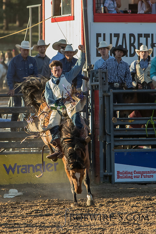 Bareback bronc rider Lane McGehee rides Summit Pro Rodeo's 018 in the second performance of the Elizabeth Stampede on Saturday, June 2, 2018.