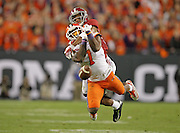 Alabama Crimson Tide defensive back Marlon Humphrey (26) is called for pass interference on a pass play to Clemson Tigers wide receiver Mike Williams (7) in the fourth quarter of the National Championship at Raymond James Stadium in Tampa, Monday, January 9, 2017.