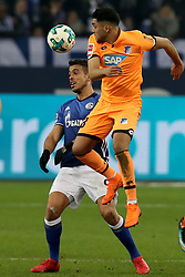 GELSENKIRCHEN, Feb. 18, 2018  Hoffenheim's Nadiem Amiri (R) and Schalke's Franco di Santo vie for the ball during the German Bundesliga soccer match between FC Schalke 04 and Hoffenheim, in Gelsenkirchen, western Germany, on Feb. 17, 2018. Schalke won 2-1. (Credit Image: © Joachim Bywaletz/Xinhua via ZUMA Wire)