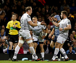 Ospreys' Alun Wyn Jones celebrates scoring his sides first try<br /> <br /> Photographer Simon King/Replay Images<br /> <br /> Guinness PRO14 Round 21 - Cardiff Blues v Ospreys - Saturday 28th April 2018 - Principality Stadium - Cardiff<br /> <br /> World Copyright © Replay Images . All rights reserved. info@replayimages.co.uk - http://replayimages.co.uk