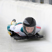 27 February 2007:  Michelle Steele of Australia finishes her 3rd run at the Women's Skeleton World Championships competition on February 27 at the Olympic Sports Complex in Lake Placid, NY.