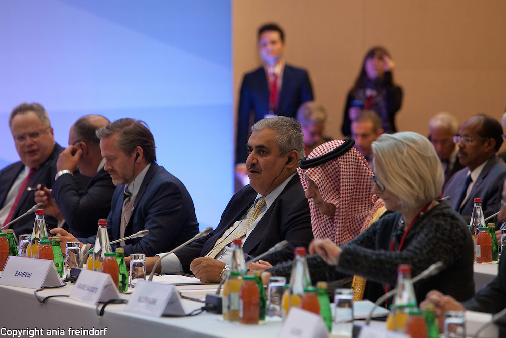 Middle east peace conference, Paris, France. Khalid bin Ahmed Al Khalifa, Bahraini diplomat and Bahrain's Minister of Foreign Affairs, Bahrain.